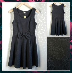 Retro Lace Print Knit Bow Jumper Dress Just Ginger